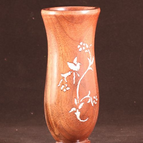 Lost wood vase with mother of pearl inlay