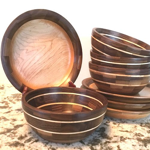 Walnut & Maple Dinner Plates and Salad Bowls