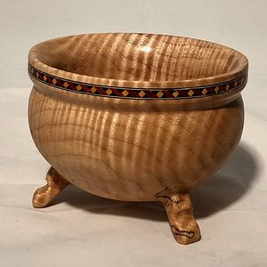 Curly maple inlayed footed bowl