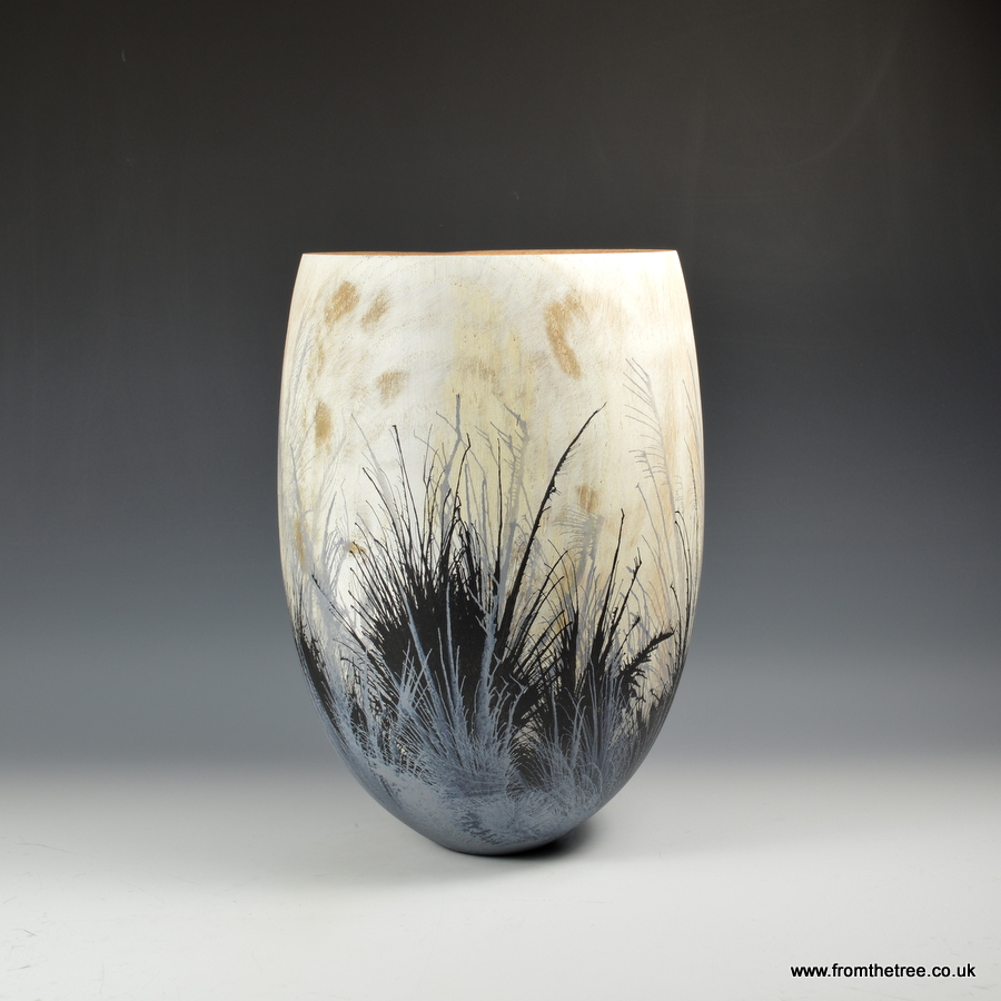 Ash vessel with gesso & ink decoration