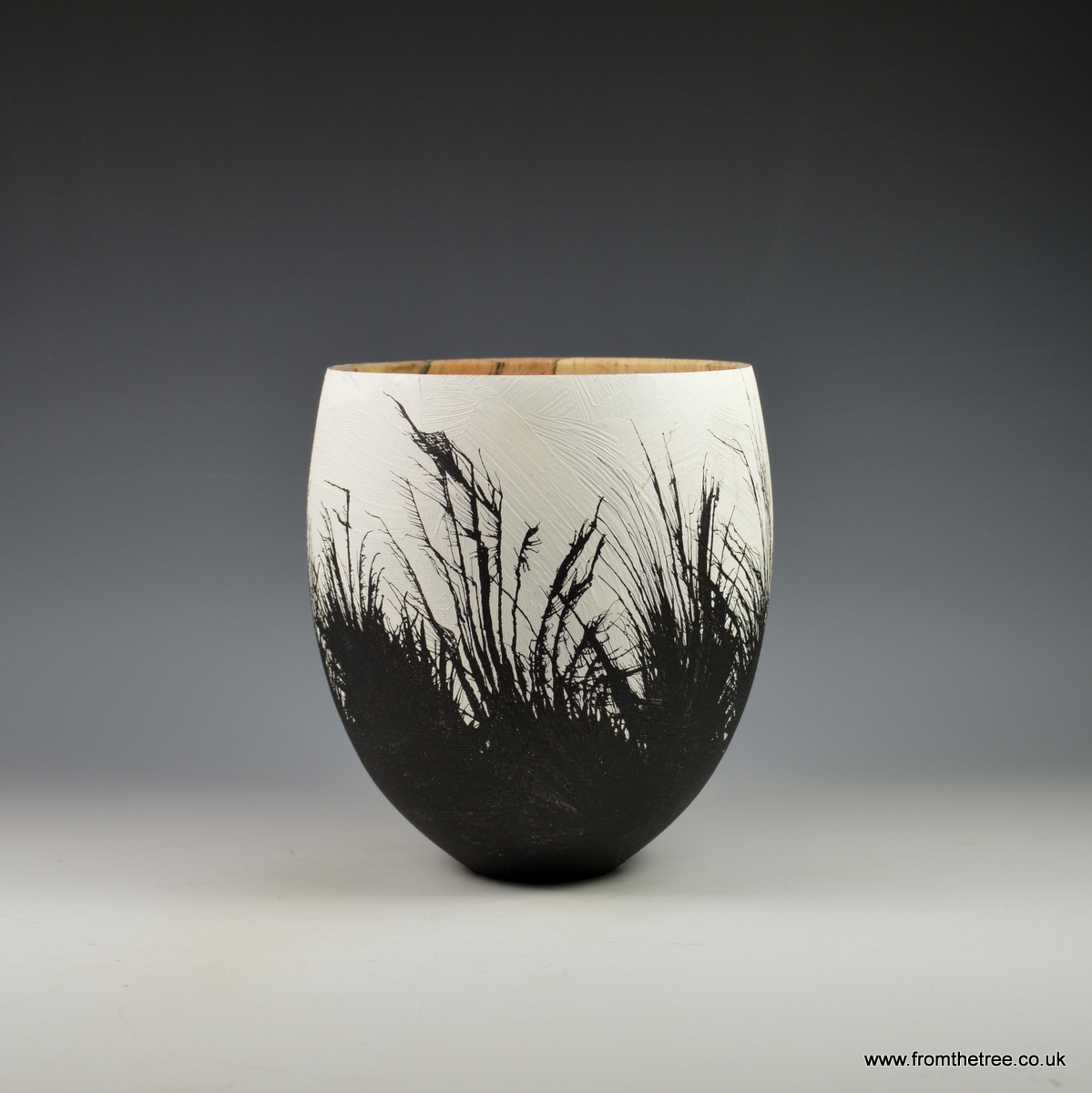 Beech vessel with gesso & ink decoration