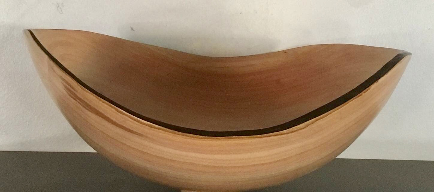 Black cherry natural edge bowl with ebonized rim