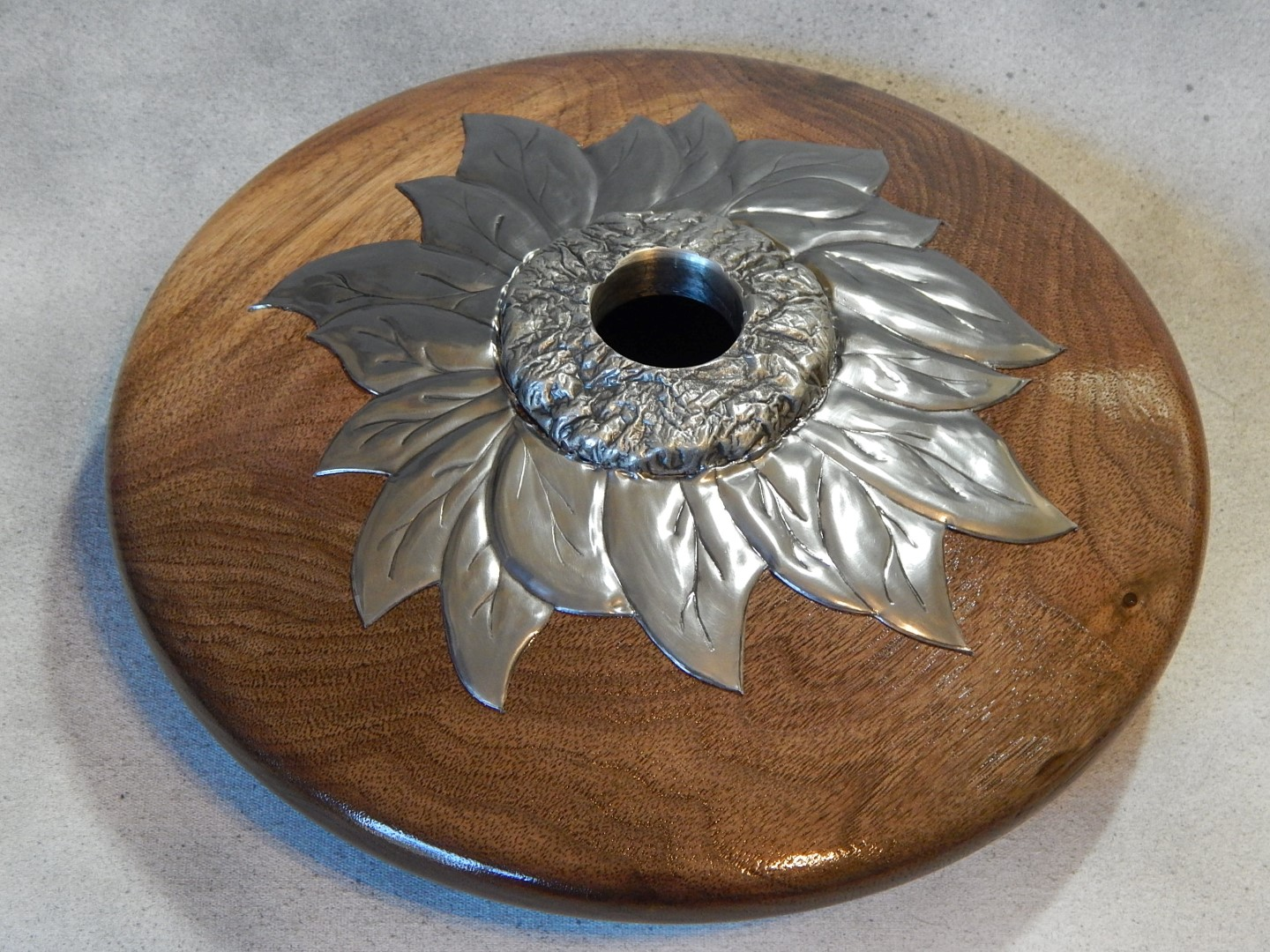 Ebossed Pewter Flowers With Cast Collar