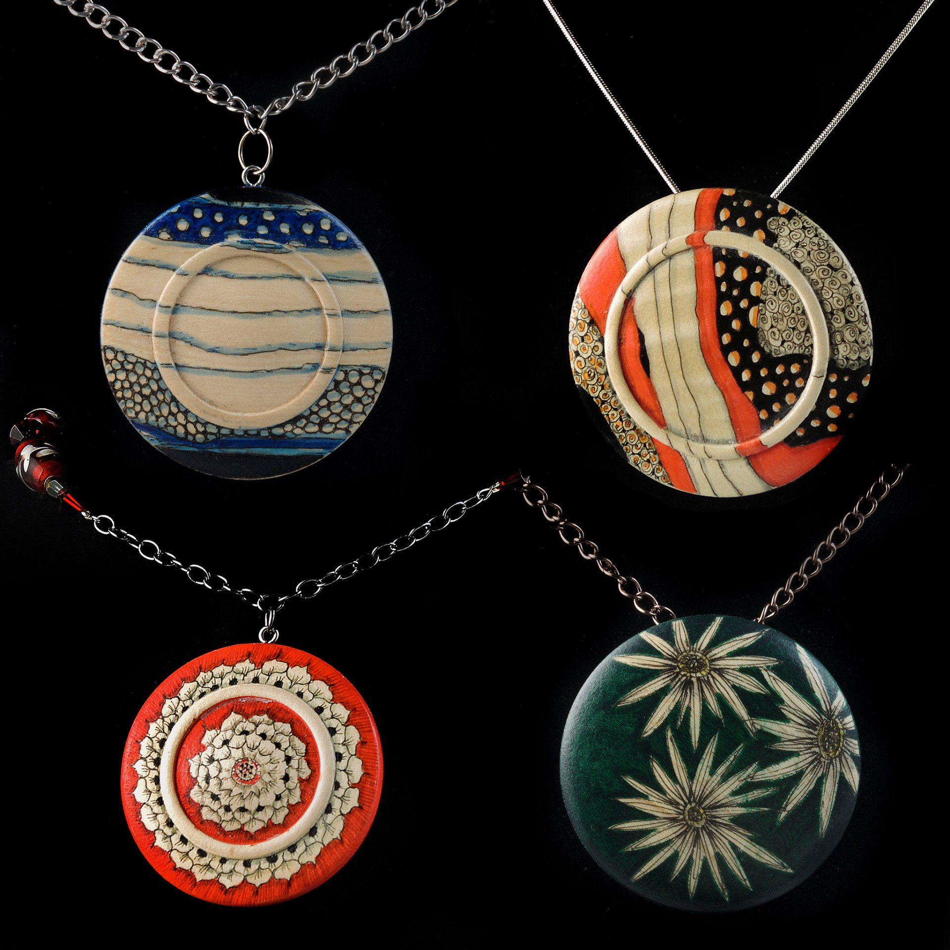 Pendants embellished with archival inks